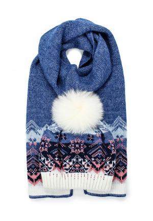 Комплект шапка и шарф Ferz. Цвет: синий