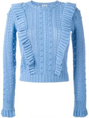 Вязаный свитер с оборками Manoush. Цвет: синий