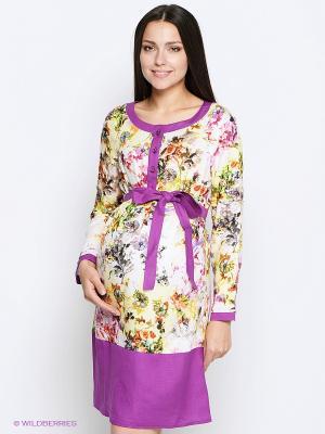 Платье MammySize. Цвет: лиловый, бежевый