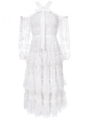 Кружевное платье Needle & Thread. Цвет: белый
