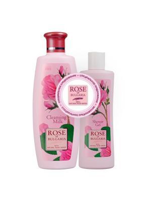 Набор:  Молочко очищающее, 330 мл+ Гель для душа 230 мл Rose of Bulgaria Biofresh. Цвет: бледно-розовый, белый, розовый
