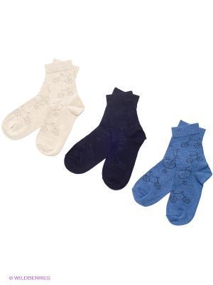Носки детские, 3 пары БРЕСТСКИЕ. Цвет: черный, синий, светло-желтый