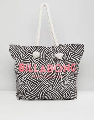 Billabong Пляжная сумка-тоут с логотипом. Цвет: черный