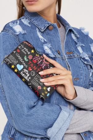 Черный кожаный кошелек с надписями Dolce&Gabbana. Цвет: черный
