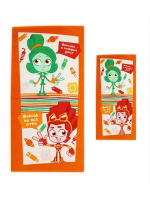 Махровые полотенца фиксики. Цвет: оранжевый