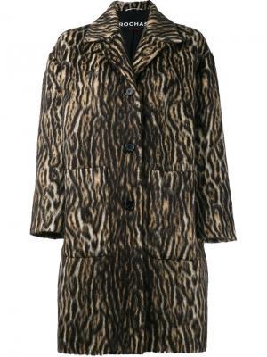 Пальто с зебровым принтом Rochas. Цвет: коричневый