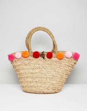 South Beach Розовая пляжная сумка с помпонами. Цвет: бежевый