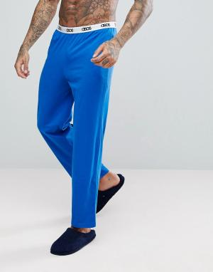 ASOS Трикотажные пижамные брюки с прямыми штанинами. Цвет: синий