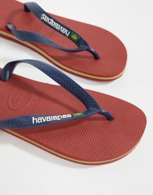 Havaianas Красные шлепанцы с логотипом Brasil. Цвет: красный
