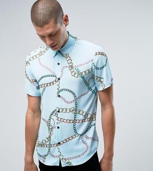 Reclaimed Vintage Рубашка классического кроя с короткими рукавами и принтом цепочек Recl. Цвет: синий