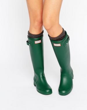 Hunter Зеленые резиновые сапоги Original Tour. Цвет: зеленый