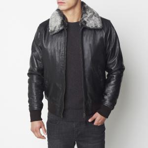 Блузон кожаный демисезонный SCHOTT. Цвет: черный