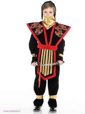 Карнавальный костюм МАСТЕР НИНДЗЯ красный Батик. Цвет: черный, красный