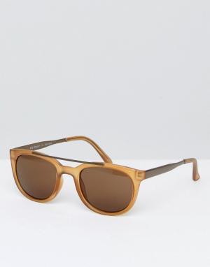 AJ Morgan Круглые солнцезащитные очки янтарного цвета. Цвет: золотой