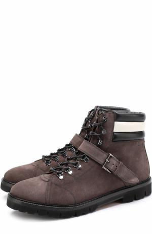 Высокие замшевые ботинки на шнуровке Bally. Цвет: серый