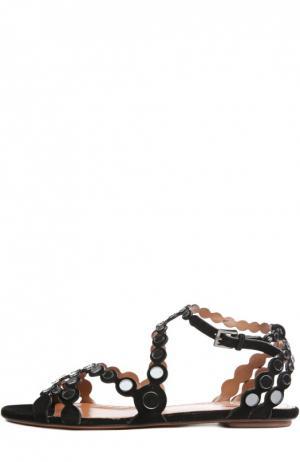 Замшевые сандалии с декоративными вставками Alaia. Цвет: черный