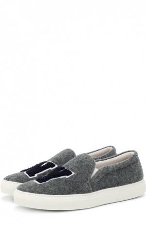 Слипоны N.Y из текстиля с аппликациями Joshua Sanders. Цвет: серый