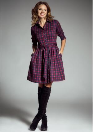 Платье MY STYLE. Цвет: серый (серо-малиновый)
