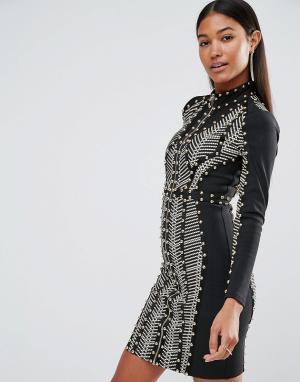 Wow Couture Бандажное платье с длинными рукавами, заклепками и принтом. Цвет: мульти