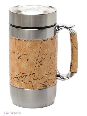 Кружка-термос Файв-о-клок с картой, EKTER-600 Экспедиция. Цвет: бежевый
