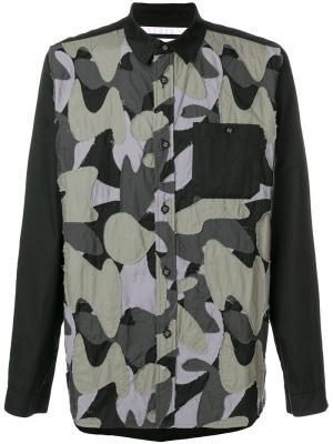 Рубашка в стилистике пэчворк White Mountaineering. Цвет: чёрный