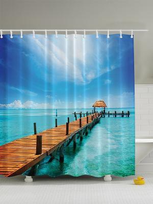 Фотоштора для ванной Заснеженные горы, бирюзовое море, зелёный бамбук, красные клёны, 180*200 см Magic Lady. Цвет: бирюзовый, белый, зеленый, коричневый, морская волна, синий, черный