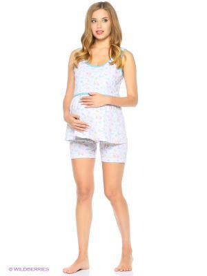 Комплект домашней одежды для беременных и кормления ( майка, шорты) 40 недель. Цвет: голубой, серый