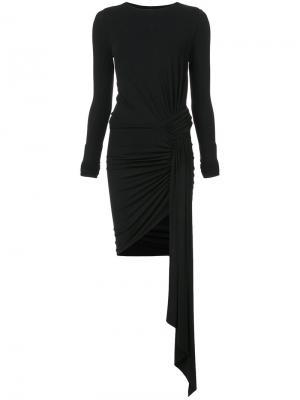Приталенное платье с присборенной отделкой Alexandre Vauthier. Цвет: чёрный