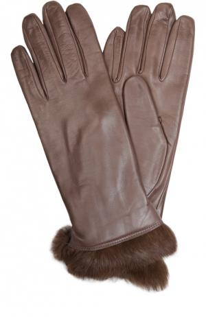 Кожаные перчатки с отделкой из меха кролика Sermoneta Gloves. Цвет: темно-бежевый