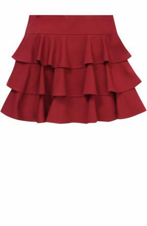 Юбка с широким поясом и оборками Aletta. Цвет: бордовый