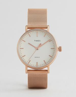 Timex Часы с сетчатым ремешком Fairfield 37 мм. Цвет: золотой