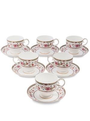 Чайный набор на 6 перс. Милано-Мариттима (Milano Marittima Pavone) Pavone. Цвет: белый, золотистый, розовый