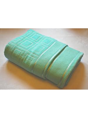 Комплект махровых полотенец 2 предмета Клетка, 50х90, 70х140 см La Pastel. Цвет: зеленый