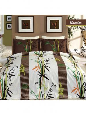 Комплект постельного белья ЕВРО БАМБУК MARIPOSA. Цвет: белый, зеленый, коричневый, оранжевый