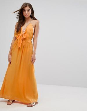 ASOS Пляжное тканое платье макси с завязкой. Цвет: оранжевый