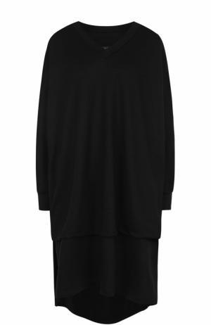 Удлиненный шерстяной пуловер с V-образным вырезом Yohji Yamamoto. Цвет: черный