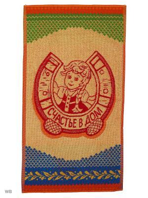 Полотенце махровое пестротканое жаккардовое Счастье в дом Авангард. Цвет: синий, красный