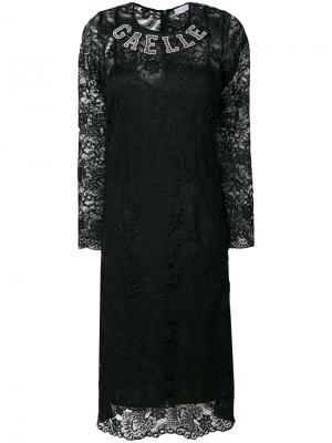 Платье с логотипом и длинными рукавами Gaelle Bonheur. Цвет: чёрный