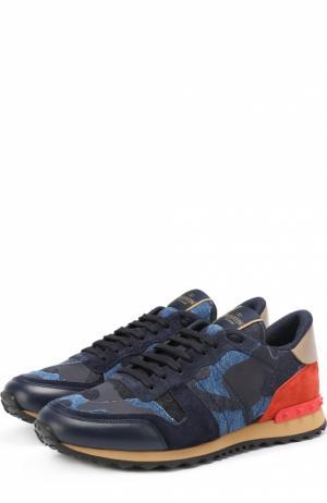 Комбинированные кроссовки Rockrunner с камуфляжным принтом Valentino. Цвет: темно-синий