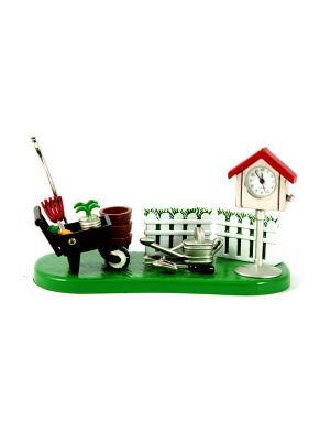 Часы настольные Сад Русские подарки. Цвет: зеленый, красный, белый