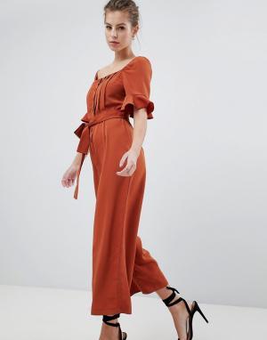 ASOS Выбеленный атласный комбинезон в винтажном стиле DESIGN. Цвет: оранжевый