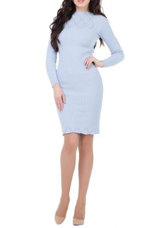 Приталенное платье с горловиной Лодочка HAPPYCHOICE. Цвет: голубой