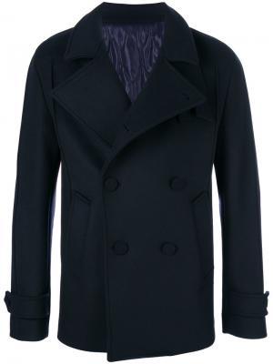 Двубортное пальто с воротником-воронкой Wooyoungmi. Цвет: синий