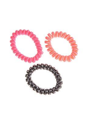 Резинка для волос (3 шт.) Happy Charms Family. Цвет: черный, розовый, оранжевый