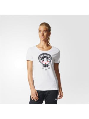 Футболка с принтом жен. RUSSIA MATRYOSH Adidas. Цвет: белый