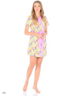 Комплект (Халат и сорочка) Magwear. Цвет: розовый, желтый
