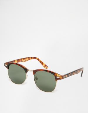 7X Коричневые солнцезащитные очки с зелеными стеклами. Цвет: коричневый