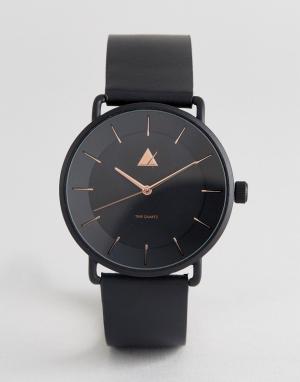 ASOS Черные часы с отделкой цвета розового золота. Цвет: черный