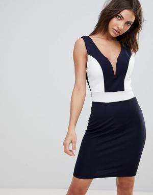 Wal G Платье миди с глубоким вырезом сердечком и контрастными вставками. Цвет: темно-синий