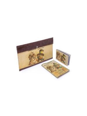 Комплект Ретро коты (Тревел в коричневой коже+обложка на паспорт+визитница) Eshemoda. Цвет: коричневый